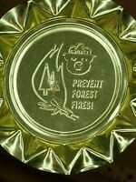 Vintage Smokey The Bear PREVENT FOREST FIRES Pressed Aluminum Ashtray Lot of 2