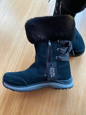 UGG Ingalls Black Waterproof Leather Sheepskin Cuff Bow Snow Boots Sz 9 New w B