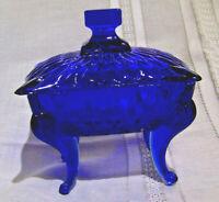 Vintage Cobalt Blue Trinket Box with Queen Anne Legs