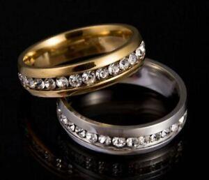 Men's/Women's 6mm 18 Carat White Gold / Yellow Gold Crystal Diamond Wedding Ring