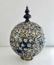 Rare Sparkling Pendant Light Antique Brass Hanging Fixture Crystal Ball Pendant