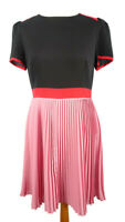 Monsoon 12 Pink Black Red Pleated Dress Retro Button Back Short Sleeve Party