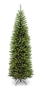 Green Christmas Artificial Pencil Slim Thick Tips Metal Stand Décor Tree Xmas