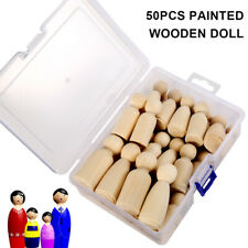 50PCS Unfinished Wooden Dolls Wood Peg Little People Kid Toys Arts Craft Painted