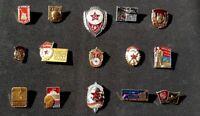 Set of 15 Soviet (USSR) Russian metal Pin Badges 'Soviet red army'