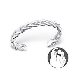 Tjs 925 Sterling Silver Toe Ring Chain Braid Adjustable Fine Body Jewellery