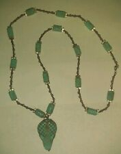 Beaded Turquoise Color Snake Pendant Necklace