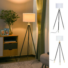 Modern Floor Lamp Standing Lamp Round Shade Metal Tripod Holder Living Room