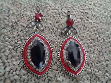 Classic Turkey Retro Red Ruby Crystal Horse Eye 925 Silver Lady Earring