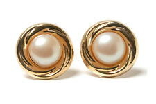 Botón de oro 9ct perla Stud Pendientes Hecho en Reino Unido en caja de regalo de Navidad Regalo De Navidad