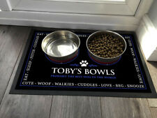 Personalised with any name Blue Pet bowl feeding mat 60 x 40 cm Large Mat