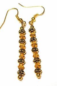Long Gold Amber Crystal Earrings Drop Dangle Glass Bead Classy Vintage Chic Boho