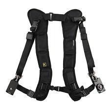 Negro Dual hombro correa para cuello Quick Release For Digital SLR DSLR Cámara