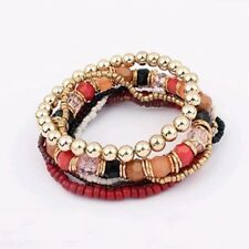Armband NEU Strass Damen Schwarz Rot Gold Perlen Elastisch 7 Bänder