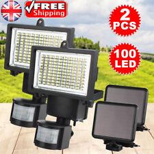 2x 100 LED Bright Solar Powered PIR Sensor Flood Security Light Outdoor Garden
