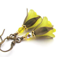 GODDESS LILY YELLOW Frosted Lucite flower earrings Czech Glass BRONZE