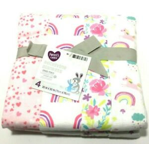 NEW 4 Receiving Swaddle Blankets 30in x 30in  Parents Choice Pink Girl 21BB003