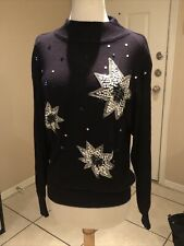 Vintage Black Beaded 80s Ugly Sweater Size S by Regency Connection