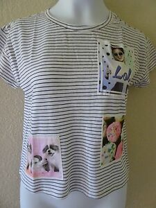 NWT JUSTICE SIZE 6 GRAPHIC STRIPE CROP TOP TEE LOL CUPCAKE PUPPIES PHOTOREAL