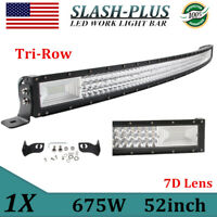 """52""""inch 675W 7D Tri-row Curved LED Work Light Bar Combo windshield Car SUV Boat"""