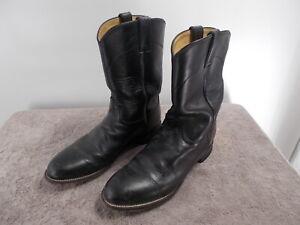 Justin Roper Cowboy Boots Black Leather Men's Size 9.5D