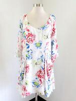 NWT Entro White Floral Drapey Tunic Dress Size L Boho Casual Blue