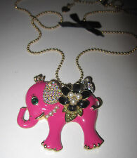 BETSEY JOHNSON PINK ELEPHANT WITH BLING LONG NECKLACE