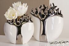 Designer Vase TREE aus Keramik weiß/silber mit silbernem Baumdesign Höhe 27 cm
