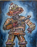 MIGHTY  ROBOT 8x10 canvas Mech art oil painting retro original signed CROWELL