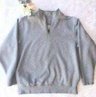 LL BEAN Sz L Men's Grey Half-Zip Long Sleeve Pullover Collared Sweater Cotton