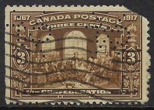 Perfin C48-CXL (CANADIAN EXPLOSIVES LTD): Scott 135, 3c Confederation, Pos. 3