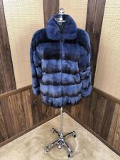 EXCLUSIVE FURS BY RAMON BLUE & BLACK OMBRE CHINCHILLA REX RABBIT FUR COAT JACKET
