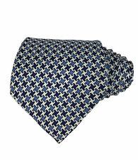 RARE Charles Hill Made England Silk Tie Royal/Light Blue White Puzzle Geometric