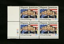 US Stamps #2103 ~ 1984 HISPANIC AMERICANS 20c Plate Block MNH