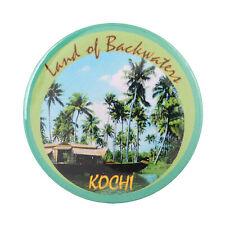 Fridge Magnet Land of Backwaters Kochi Kerala India Souvenir Button Pin Badge