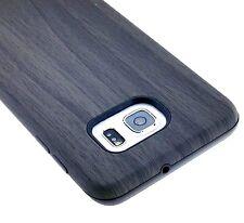 Samsung Galaxy S6 Edge Plus - HARD GUMMY RUBBER HYBRID ARMOR CASE GRAY WOOD OAK