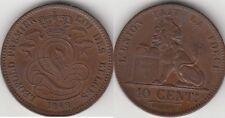 Monnaie Belgique en cuivre 10 Centimes 1848 SPL