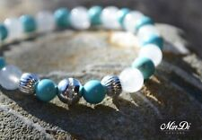 Handmade stretch bracelet with Sterling Silver, Jade & Turquoise Magnesite.