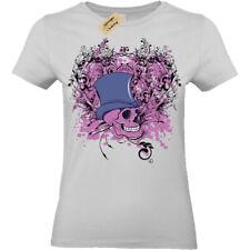 Skull Steampunk top hat gentleman gothic T-Shirt Womens Ladies top