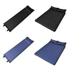 Matelas autogonflant noir / bleu avec oreiller pour camping Taille au choix