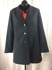 CAbi Size 8 Charcoal Navy Lined Long Pea Coat Sweater Style 384