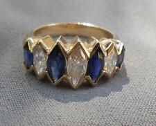 Diamond Essence Simulated Diamond & Sapphire Marquise 14 Kt Yellow Gold Ring  6
