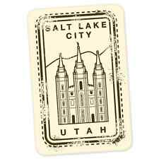 "Salt Lake City Utah Mormon travel car bumper window suitcase sticker 6"" x 3"""