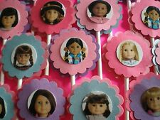 30 AMERICAN GIRL DOLL Cupcake Toppers, Birthday Party Favors, Baby Shower  30