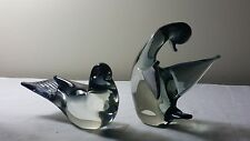 A pair of V Nason Murano smokey grey glass birds