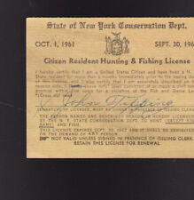 New York Citizen Resident Hunting & Fishing License 1961