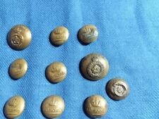 Vintage Canadian Military Brass Buttons 2 Large 8 Small (See Photos)