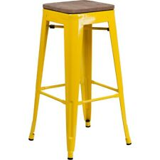 "Flash Furniture 30"" Backless Yellow Metal Barstool - CH-31320-30-YL-WD-GG"