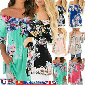 UK Plus Size Womens Off Shoulder Tops Long Sleeve Floral T-Shirt Casual Blouse