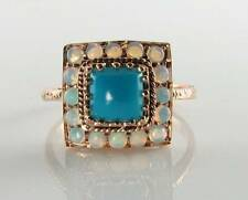 DIVINE 9K 9CT ROSE GOLD PERSIAN TURQUOISE & OPAL ART DECO INS RING FREE RESIZE